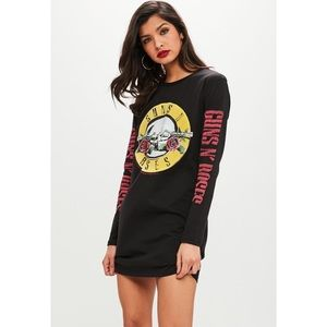 🌸 Guns and Roses Black Long Sleeve T-Shirt Dress